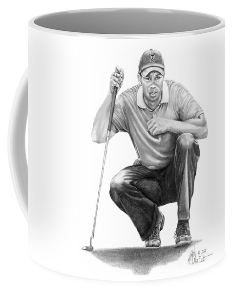 Pencil Coffee Mug featuring the drawing Tiger Woods Crouching Tiger by Murphy Elliott