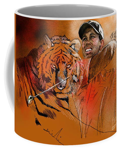 Golf Art Painting Portrait Tiger Woods Aninla Tiger Coffee Mug featuring the painting Tiger Woods Or Earn Your Stripes by Miki De Goodaboom
