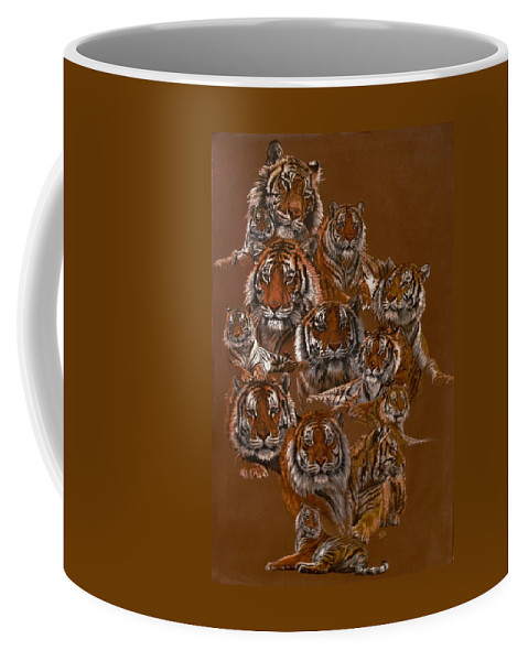 Tiger Coffee Mug featuring the drawing Tigers of Noah's Lost Ark Sanctuary by Barbara Keith
