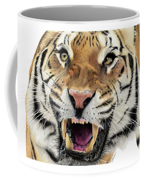 Tiger Coffee Mug featuring the drawing Tigers Pace by Bonnita Moaby