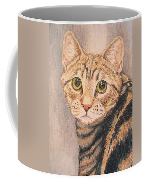 Portrait Coffee Mug featuring the drawing Tigger by Linda Williams