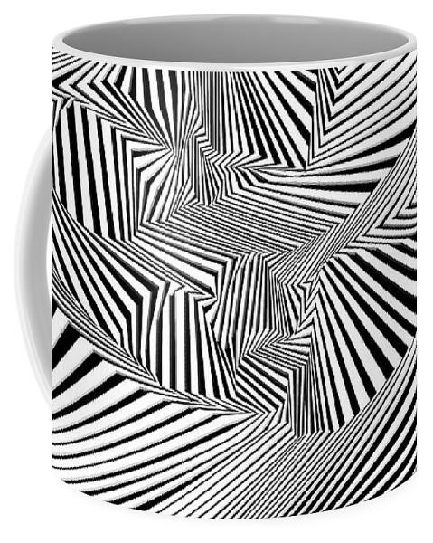 Dynamic Black And White Coffee Mug featuring the painting Tihtrowtisi by Douglas Christian Larsen