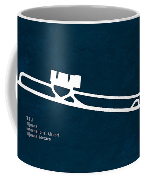 Silhouette Coffee Mug featuring the digital art Tij Tijuana International Airport In Tijuana Mexico Runway Silho by Jurq Studio