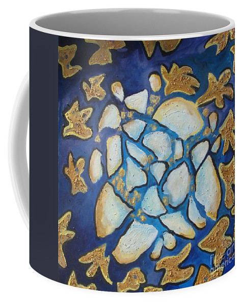Abstract Coffee Mug featuring the painting Tikkun Olam Heal The World by Laurie Morgan
