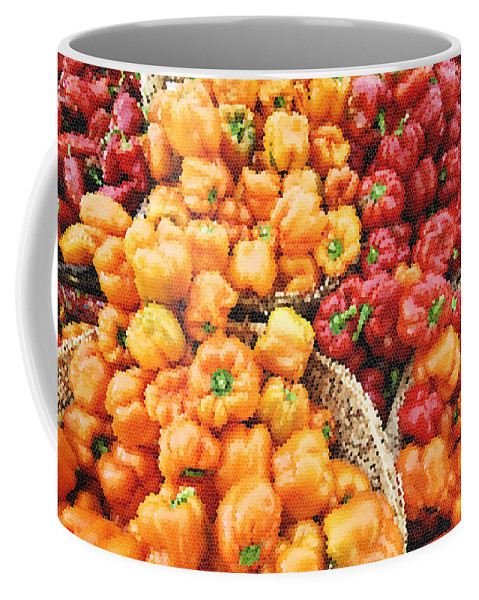 Peppers Coffee Mug featuring the photograph Tile Peppers by Robert Ponzoni