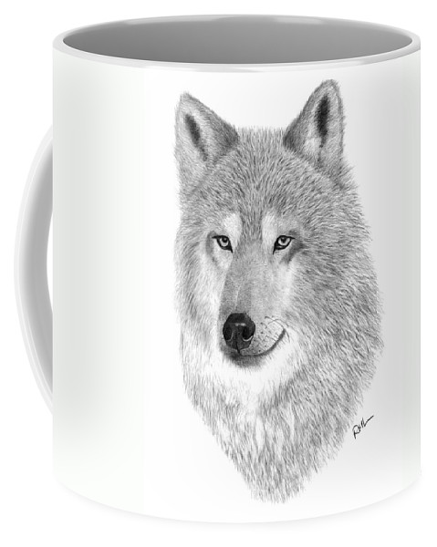 Wolf Drawing Coffee Mug featuring the drawing Timber Wolf by Rosanna Maria