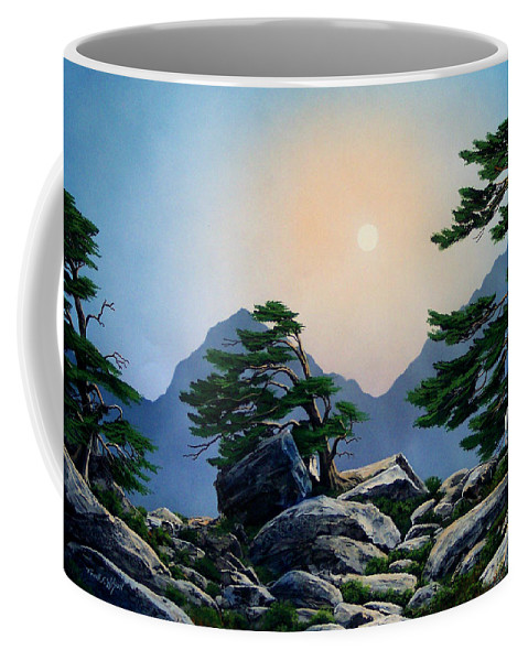 Timberline Guardians Coffee Mug featuring the painting Timberline Guardians by Frank Wilson