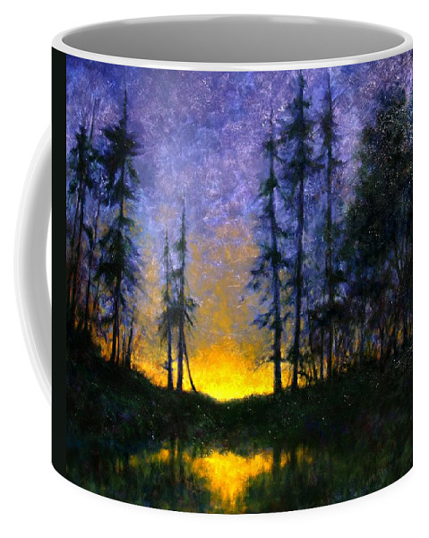 Landscape. Nocturn Coffee Mug featuring the painting Timberline by Jim Gola