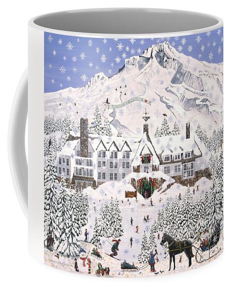 Timberline Lodge Coffee Mug featuring the painting Timberline Lodge by Jennifer Lake