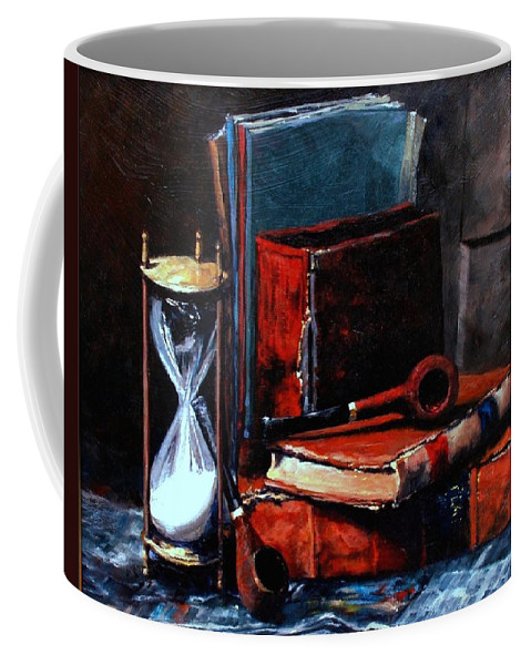 Still Life Painting Coffee Mug featuring the painting Time And Old Friends by Jim Gola