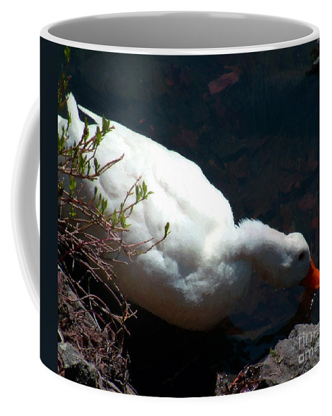 Duck Coffee Mug featuring the painting Time For A Drink by RC DeWinter