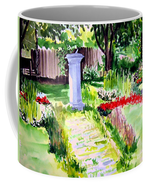 Park Coffee Mug featuring the painting Time In A Garden by Sandy Ryan