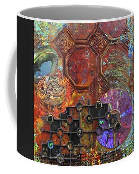 Assemblage Painting Coffee Mug featuring the painting Time Passage I by Elaine Booth-Kallweit