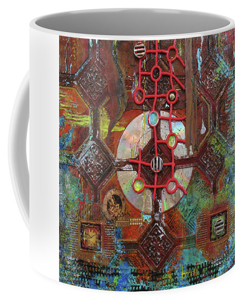 Assemblage Painting Coffee Mug featuring the painting Time Passage II by Elaine Booth-Kallweit