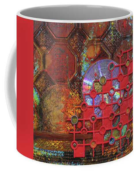 Assemblage Painting Coffee Mug featuring the painting Time Passage III by Elaine Booth-Kallweit
