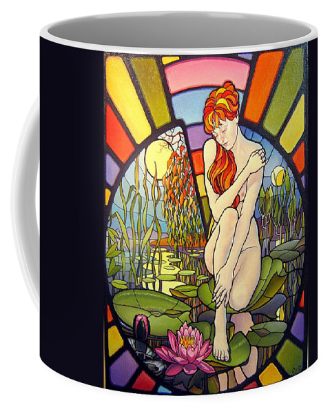 Art Oil Painting Canvas Stained Glass Woman Time Coffee Mug featuring the painting Time Passing By by Gyuri Lohmuller
