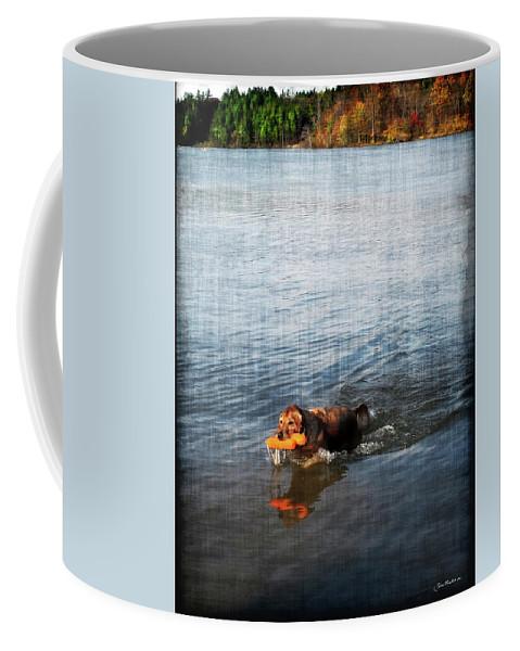 Dog Coffee Mug featuring the digital art Time To Fetch by Joan Minchak