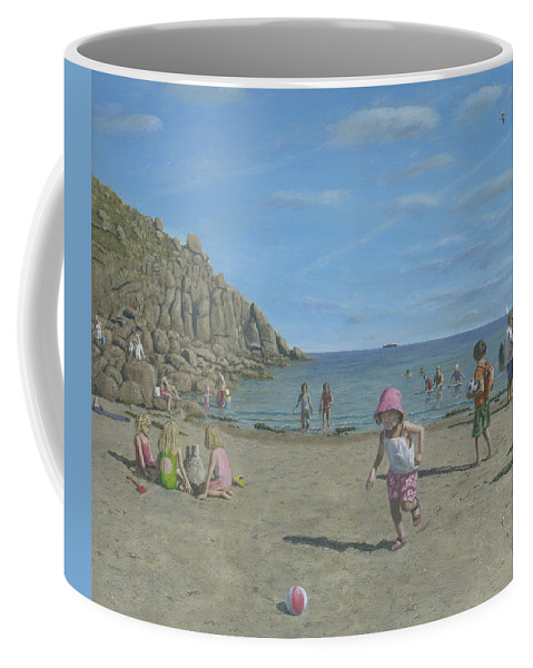 Seascape Coffee Mug featuring the painting Time To Go Home - Porthgwarra Beach Cornwall by Richard Harpum