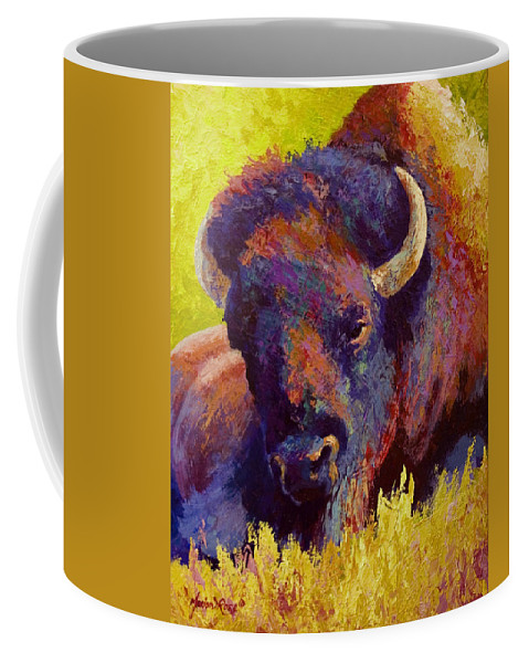 Bison Coffee Mug featuring the painting Timeless Spirit by Marion Rose