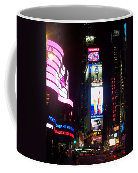 Times Square Coffee Mug featuring the photograph Times Square 1 by Anita Burgermeister