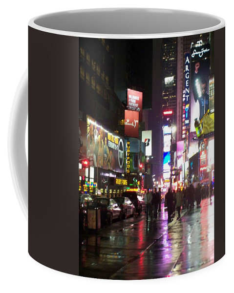 Times Square Coffee Mug featuring the photograph Times Square In The Rain 1 by Anita Burgermeister