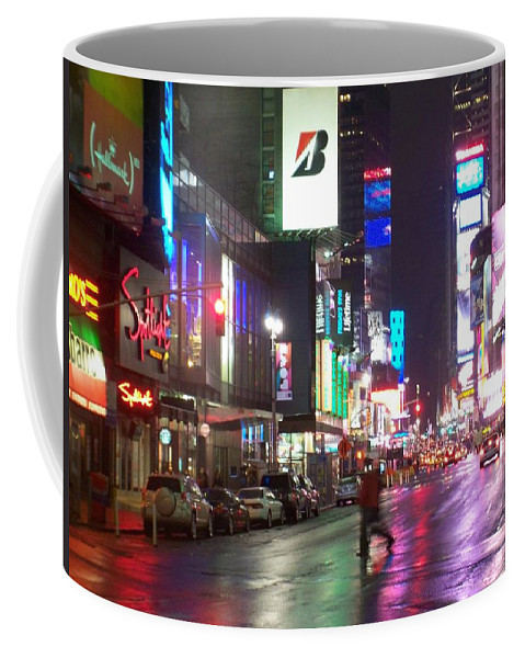Times Square Coffee Mug featuring the photograph Times Square In The Rain 2 by Anita Burgermeister