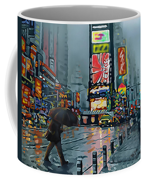 New York Coffee Mug featuring the digital art Times Square by James Mingo