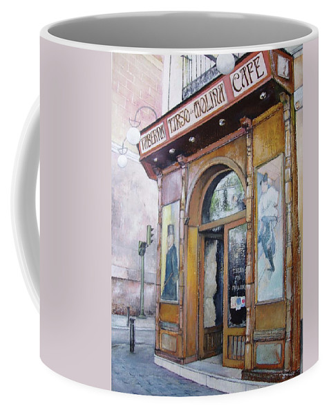 Tirso Coffee Mug featuring the painting Tirso De Molina Old Tavern by Tomas Castano