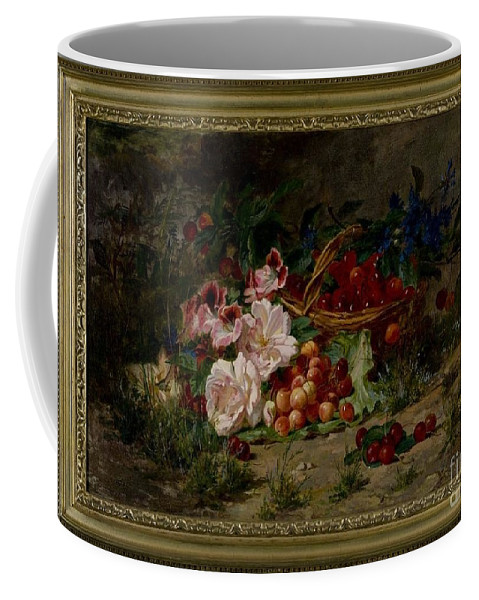 Henry George Todd Coffee Mug featuring the painting Title Flowers And Fruit by MotionAge Designs