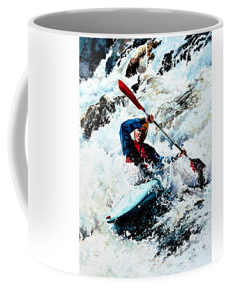 Sports Artist Coffee Mug featuring the painting To Conquer White Water by Hanne Lore Koehler