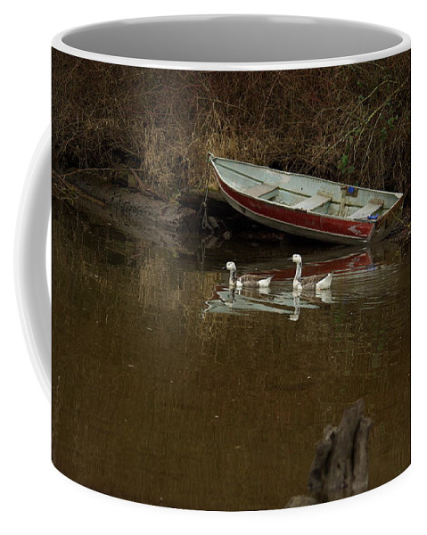 Geese Coffee Mug featuring the photograph To Float Or Not To Float by Cindy Johnston
