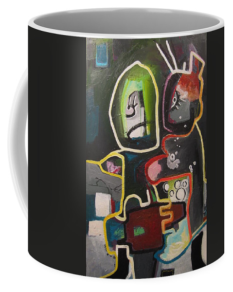Couple Paintings Coffee Mug featuring the painting To Get Along by Seon-Jeong Kim