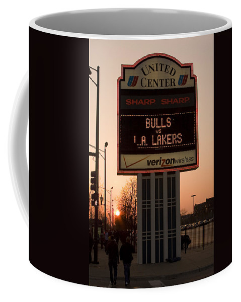 Chicago Windy City Evening Sunset Bulls Game La L.a. Lakers United Center Coffee Mug featuring the photograph To The Bulls Game by Andrei Shliakhau