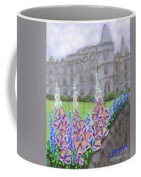 Castle Coffee Mug featuring the painting To The Manor Born by Laurie Morgan
