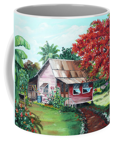 House Painting Coffee Mug featuring the painting Tobago Country House by Karin Dawn Kelshall- Best