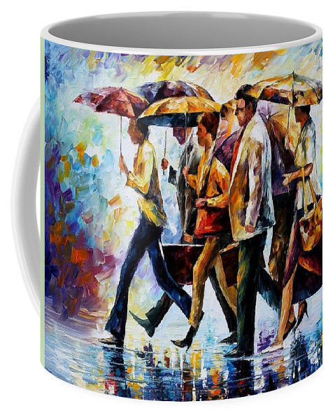Afremov Coffee Mug featuring the painting Today I Forgot My Umbrella... by Leonid Afremov