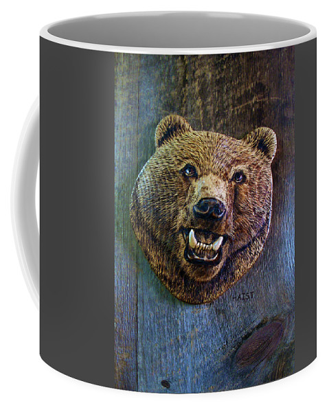 Bear Coffee Mug featuring the pyrography Together Again by Ron Haist