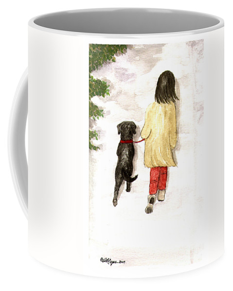 Lab Coffee Mug featuring the painting Together - Black Labrador And Woman Walking by Amy Reges