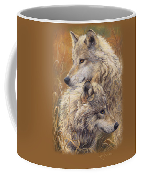 Wolf Coffee Mug featuring the painting Together by Lucie Bilodeau