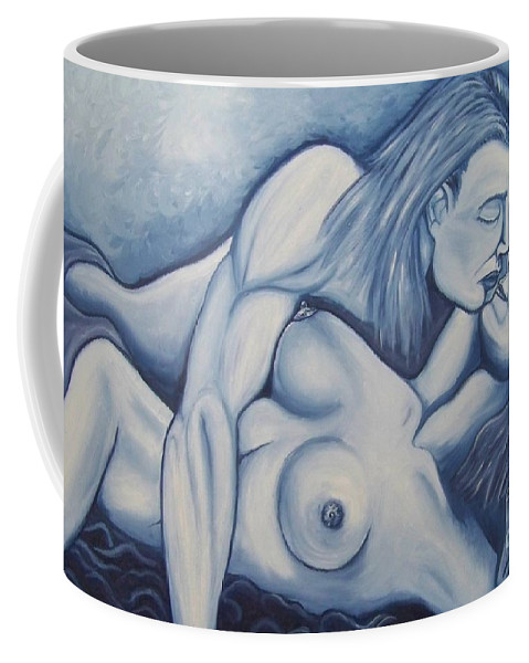 Michael Coffee Mug featuring the painting Together by Michael TMAD Finney