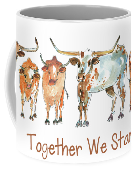Longhorns Coffee Mug featuring the painting Together We Stand Lh013 by Kathleen McElwaine