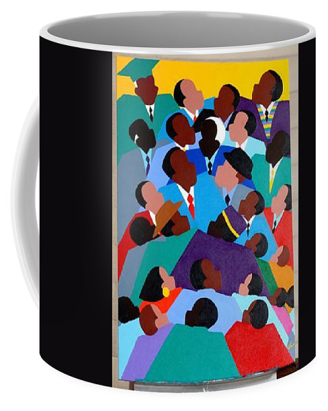 Black Men Coffee Mug featuring the painting Together...no Bounds by Synthia SAINT JAMES