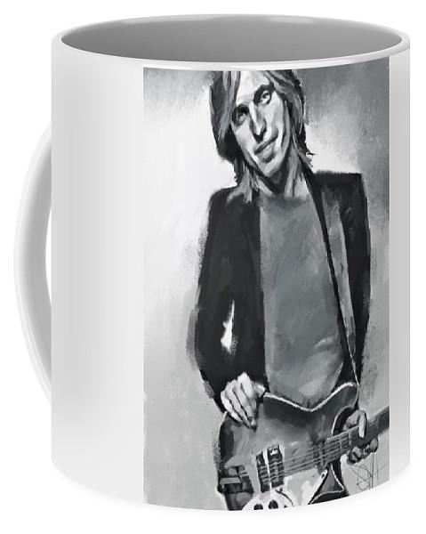 Tom Petty Music Portrait Musician Rock Coffee Mug featuring the digital art Tom by Scott Waters