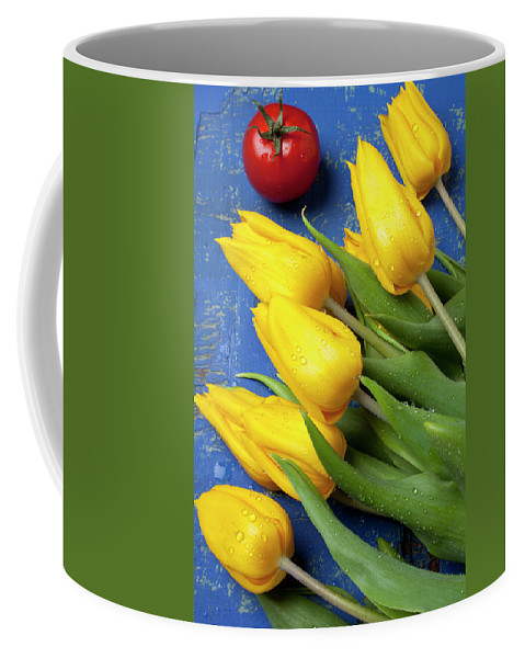 Tomato Food Flowers Tomatoes Coffee Mug featuring the photograph Tomato And Tulips by Garry Gay