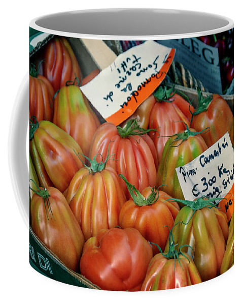 Joan Carroll Coffee Mug featuring the photograph Tomatoes At Market by Joan Carroll