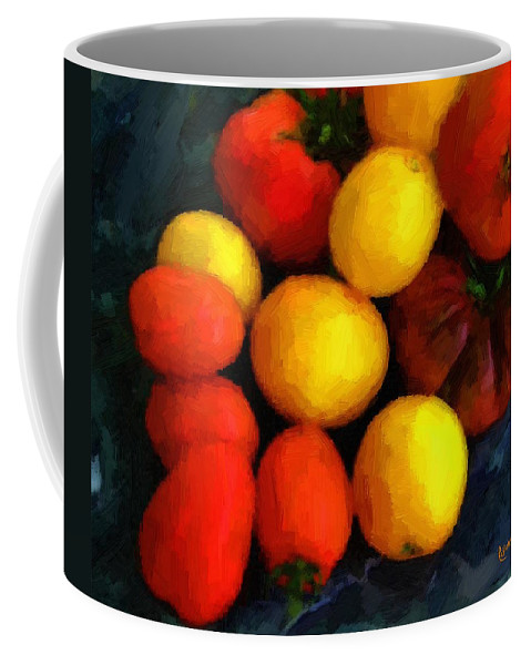 Tomatoes Coffee Mug featuring the painting Tomatoes Matisse by RC DeWinter