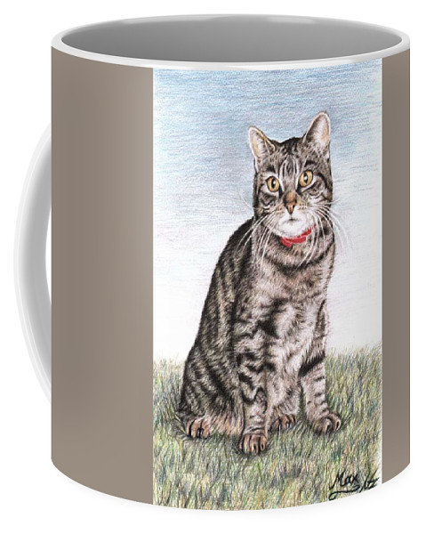 Cat Coffee Mug featuring the drawing Tomcat Max by Nicole Zeug