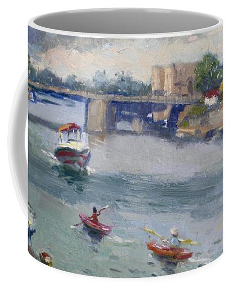 Tonawandas. Gateway Harbor Coffee Mug featuring the painting Tonawandas Gateway Harbor by Ylli Haruni