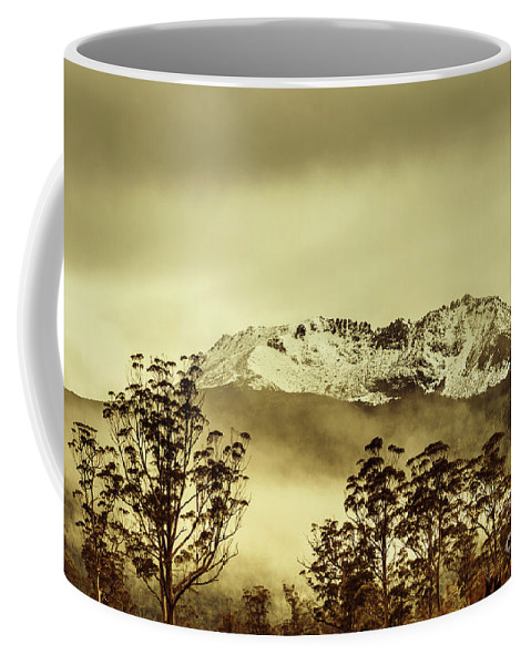 Vintage Coffee Mug featuring the photograph Toned View Of A Snowy Mount Gell, Tasmania by Jorgo Photography - Wall Art Gallery