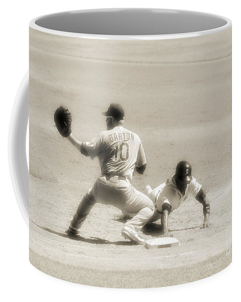 Baseball Coffee Mug featuring the photograph Too Quick by Charles Owens